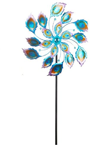 Continental Art Center 25''X9''X70'' kinetic spinner stake peacock feather by Continental Art Center