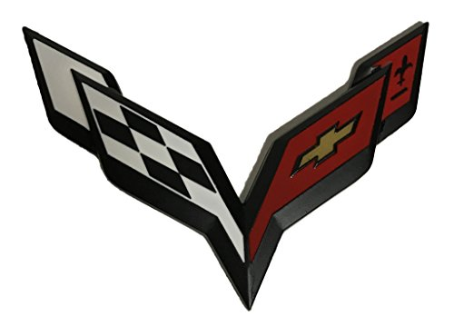 x1 New Black/Red Corvette Emblem Replaces OEM Front Grille/Rear Trunk Badge 25919015 ()