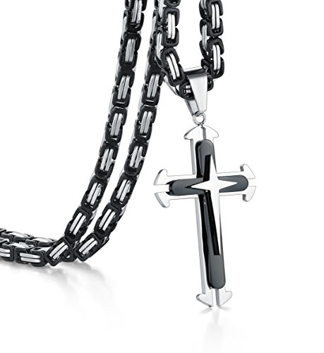 Cross Necklace, Heraculs 5mm Stainless Steel Byzantine Chain for Men Women 26 Inch (Mens Two Tone Cross)