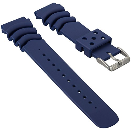 ZULUDIVER PU Rubber Watch Band Dive PU Rubber Blue 22mm