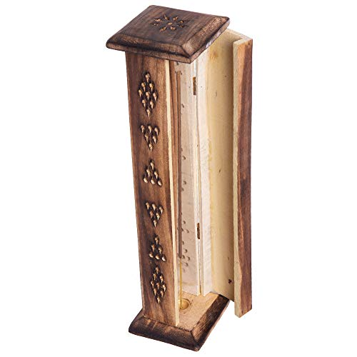 Karma Scents Premium Mangowood Incense Tower Stand Holder with 10 Handrolled Incense Sticks - Jasmine (Incense Stick Holder Tower Stand)