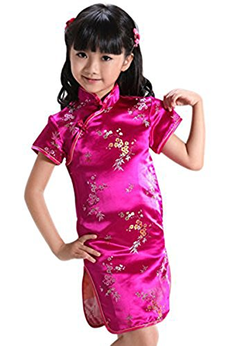 Suimiki Girls Kids Plum Flower Bamboo Chinese Qipao Cheongsam Dress Costume Rose Red 12