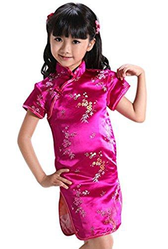New Girls Chinese Dress - Suimiki Girls Kids Plum Flower Bamboo Chinese Qipao Cheongsam Dress Costume Rose Red 8