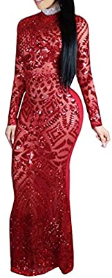 Women Sexy Round Neck Long Sleeve Mermaid Sequin Bodycon Evening Gown Maxi Dress
