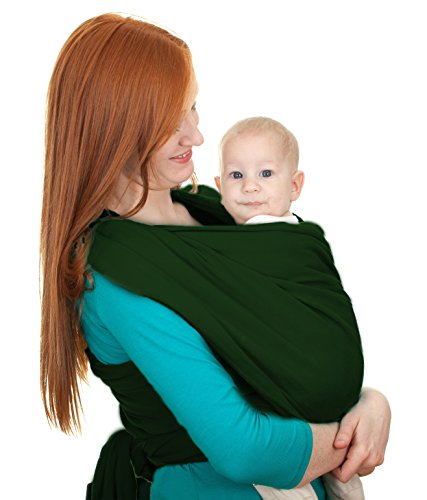 Baby Wrap Best Fit for Plus Size Parents, Baby Wrap,Gentle Cotton Baby Carrier Best For Infant & Babies, 1 month up to 2 years of age - 40 inches Longer (Green)