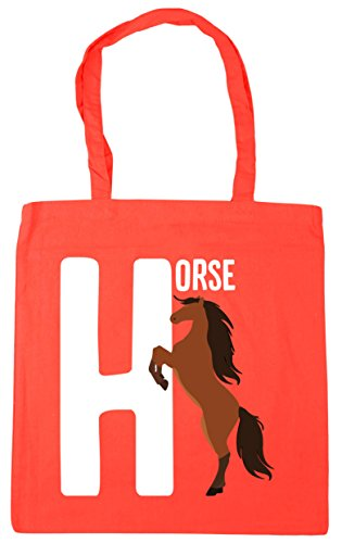 Coral horse Shopping Tote is HippoWarehouse 10 Gym x38cm H litres 42cm Beach Bag alphabet animal for FqZtntx0