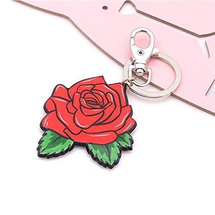 Haodou Rose Flor Llavero Pareja Llavero Mujer Joyería ...
