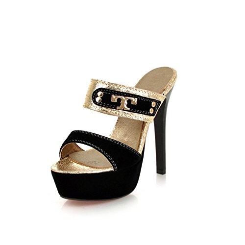 Color UK3 Zapatillas Finos EU35 para Tacones Tamaño Sexy Mujer Discoteca CN34 Helado Verano Negro Sandalias Tacones Sqv6wYp4