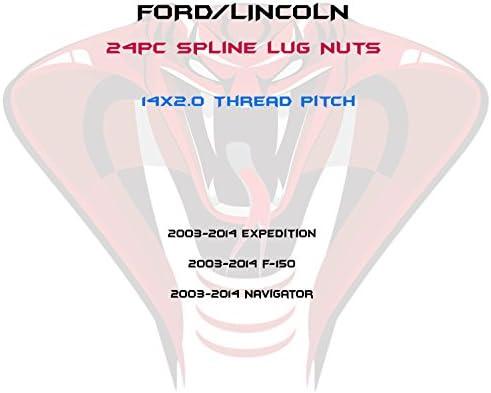 24個 2003-2014 フォード F-150 (ラプター) エクスペディション ナビゲーター 6x135mm 14x2.0 ブラック デュプレックス スプライン ラグナット + キー 小径の穴ホイール用