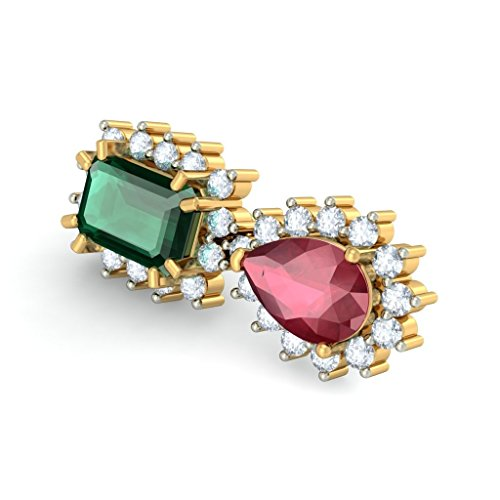 Or jaune 18K 0,54CT TW White-diamond (IJ | SI) et rubis et émeraude Boucles d'oreille
