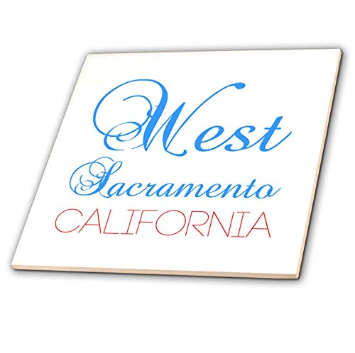 - 3dRose Alexis Design - American Cities California - West Sacramento, California, red, Blue Text. Patriotic Home Town Art - 4 Inch Ceramic Tile (ct_302762_1)