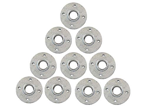 - Galvanized Malleable Iron Pipe Floor Flanges Fittings with Four Holes Threaded FNPT 1/2 in. Pack of 10