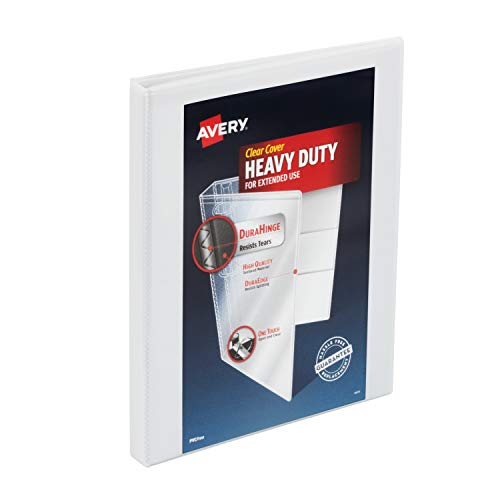 Avery 1/2 inch Heavy Duty View 3 Ring Binder, One Touch Slant Ring, Holds 8.5