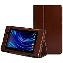 GMYLE (TM) Brown Crazy Horse Pattern Slim Folio Stand Case Cover for Google ASUS New Nexus 7 inch FHD 2nd 2013 Generation Tablet(with Auto Wake/Up Function & Multi Angle)