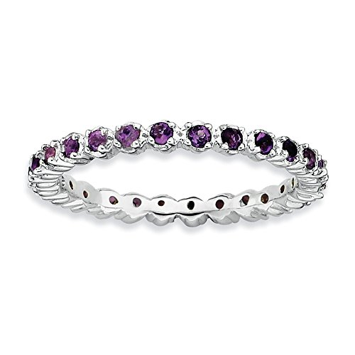 2.25mm Sterling Silver Stackable Prong Set Amethyst Band, Size 7