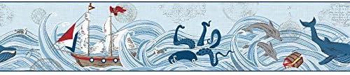 York Wallcoverings wk6913bd Waverly Kids Ships Ahoy 。Border、ブルー/ダークブルー/グレー/ブラウン/レッド/イエロー/ホワイト