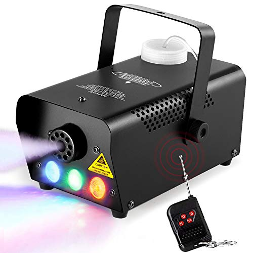 eletecpro Halloween Colorful Fog Machine,Portable 500W LED Smoke Machine with Fuse Protection,Quick Generation of Huge Fog 2000 CFM Professional Wireless Remote Control for Holidays Parties Weddings