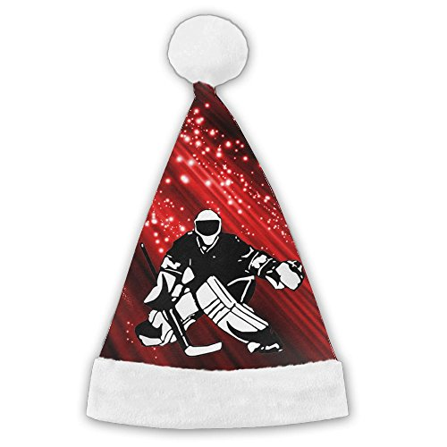 ERNCBA Christmas Santa Hat Hockey Player Holiday Theme Hats Printed For Adults And Children ()