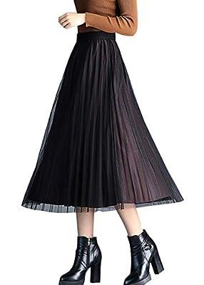 chouyatou Women's Reversible A-Line Pleated Midi Tulle Velvet Skirt