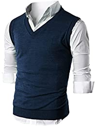 Mens Slim Fit Casual V-Neck Knit Vest