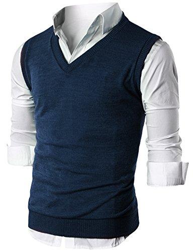 Ohoo Mens Slim Fit Casual V-Neck Knit Vest/DCV010-NAVY-M