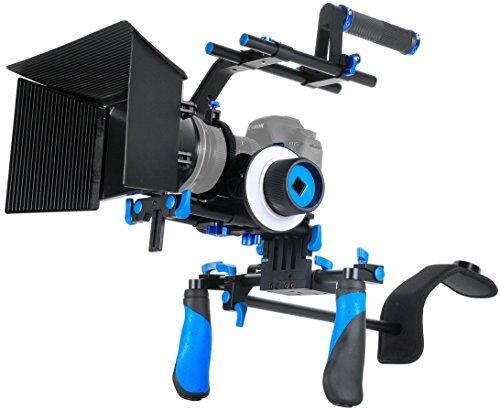 SunSmart DSLR Rig video camera Shoulder Mount Kit including DSLR Rig shoulder support, Follow Focus, Matte Box, Adjustable Platform, Top Handle and C-Shape Support Cage for All DSLR Video Cameras and DV Camcorders