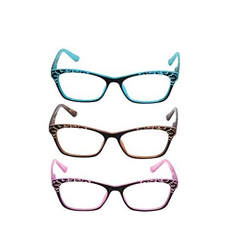 3 Pack Reading Glasses for Women - Anti-Reflective Coating & Blue Light Blocking