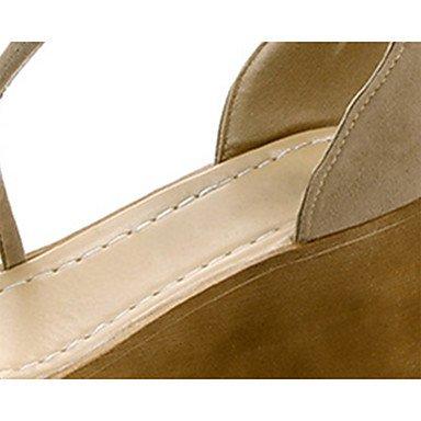 LvYuan Mujer Sandalias Confort Ante Verano Casual Paseo Confort Combinación Media plataforma Negro Caqui 7'5 - 9'5 cms Khaki