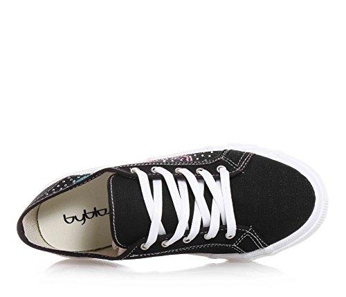 BYBLOS - Schwarzer Schuh mit Schnürsenkeln aus Stoff, seitlich ein Logo aus Strass, sichtbare Nähte und Gummisohle, Mädchen, Damen