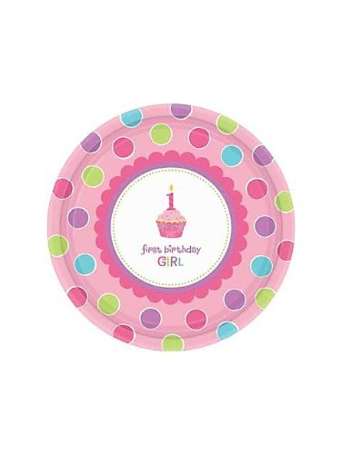 Amscan Sweet Little Cupcake Girl Dinner Plates - 18 ct (Cupcake Little Amscan Sweet)