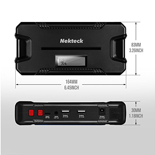 Nekteck Car Jump Starter Portable Power Bank External Battery Charger 500A Peak with 12000mAh - Emergency Jump Pack Auto Jumper for Sedan Van SUV Boat Smartphone USB Device and More by Nekteck (Image #5)'