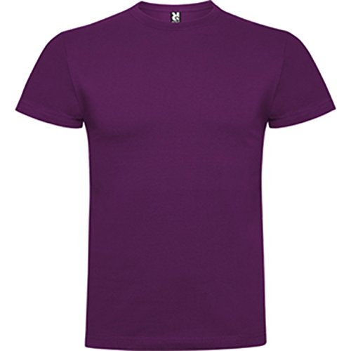 Confeccionada Tejido Y En Fina Compactado De Galga Con Acabado Corta Camiseta Púrpura Manga Rw6Xnzqxt