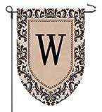 Home Garden Flags Monogram - Damask Burlap - 12.5 x 18 (W)