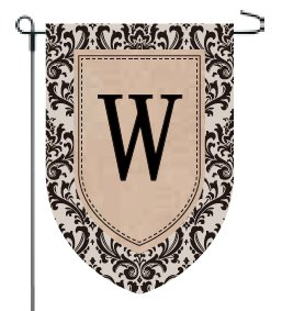Home Garden Flags Monogram - Damask Burlap - 12.5 x 18 (W)