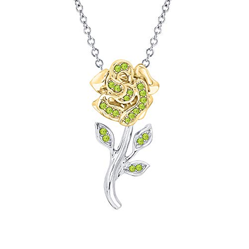 (Beautiful Rose Flower Green Peridot Pendant Necklace 18k White & Yellow Gold Over 925 Sterling Silver for Girl's)