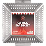 Outdoor Addict Grill Basket Large Grilling Pan Basket - Heavy Duty Barbeque Stainless Accessories Steel Fish Vegetable Pans - Essential Vegetable Grill Kitchen Basket for All Grills and Veggies