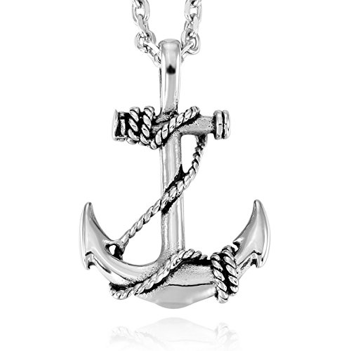 MOWOM Silver Tone Stainless Steel Pendant Necklace Anchor Nautical