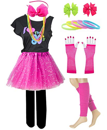 Kid Girl I Love 80s T-Shirt 1980s Star Sequin Tutu Skirt with Neon Necklace Bow Headband Hair Clip Set (14/16, Hot Pink)