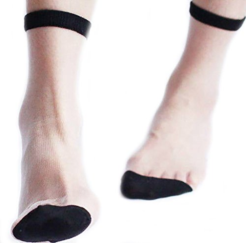 (Diona J 1 pair Women Lace Ruffle Frill Sheer Transparent Silk Elastic Mesh Ankle Socks (Black sheer transparent))