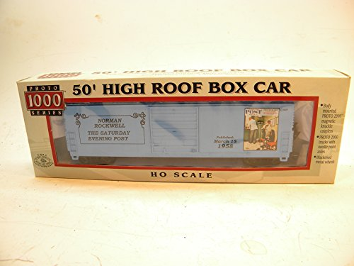 Proto 1000 Life Like 8434 HO Saturday Evening Post 1958 Norman Rockwell 50 Foot High Roof Box Car (Boxes Roof 50)