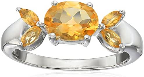Genuine Citrine .925 Sterling Silver Ring, Size 7