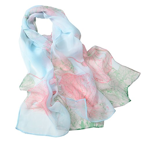 (Fashion Flower Ink Style Soft Silk Voile Scarf Wrap Shawl (Lotus-Water blue))