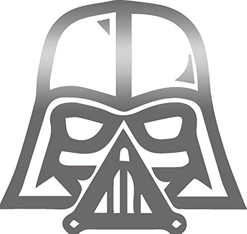 USCLIFESTYLE Symbol Lord Vader Symbol (2-Piece Set in Silver Metallic) Vinyl Decal Sticker – Adhesive – for Any Smooth Surface Indoor Outdoor Use Bumper Laptop Case Cover Mug Phone Tablet