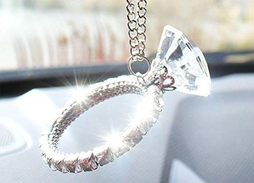 Giant Diamond Ring Rear View Mirror Pendant Diamond Style Headlight