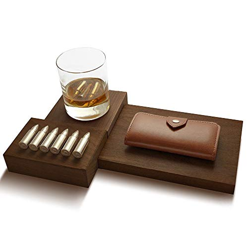Luxury Leather Gift - Ice Cubist...Art of the Cocktail - Whiskey Stone Bullets Set of 6 Stainless Steel Whiskey Bullets w/a Luxury Leather Case...Perfect Gift Set for him.