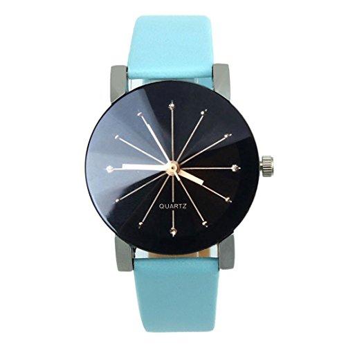 Balakie Women's Watch, Fashion Business Quartz Watch Dial Clock Crystal Faux Leather Wrist Watch Round Case (Blue, Alloy)