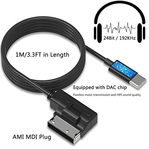 Audi AMI to Type C Aux Cable, VIMVIP WV AMI MDI to USB Type C Audio Aux Adapter Cord [DAC Chip] Compatible with Pixel 2/XL HTC U11/U12+ Moto Z2 Samsung LG V30 Huawei New Macbook for Audi WV (3.3FT) by VIMVIP (Image #1)