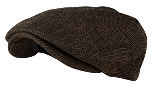 Men's Herringbone Tweed Wool Blend Snap Front Newsboy Hat (DK.Brown, SM)