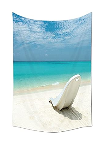 Seaside Decor Collection Maldivian Beach Sun bed at the Seashore Sunny Day Travel Destination Picture Bedroom Living Room Dorm Wall Tapestry Turquoise Off - Seaside Dreams Panel Bed