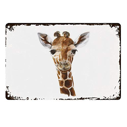 Dick Sidney Baby Giraffe Metal Aluminum Sign Wall Plaque for Cafe Beer Club Wall Home Decor 20X30CM
